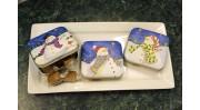 3 x Snowman Christmas Tins