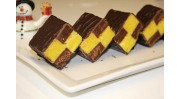 Battenburg Fudge enrobed in dark chocolate